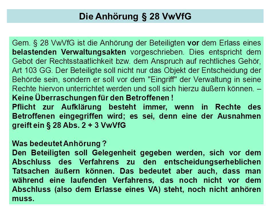 Die Anhörung § 28 VwVfG