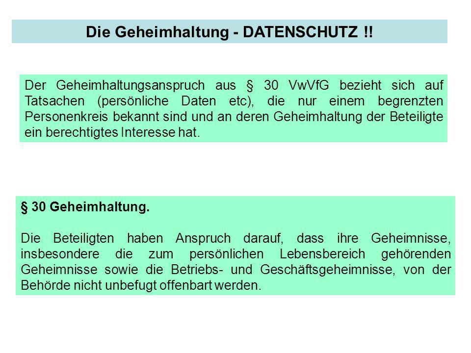 Die Geheimhaltung - DATENSCHUTZ !!