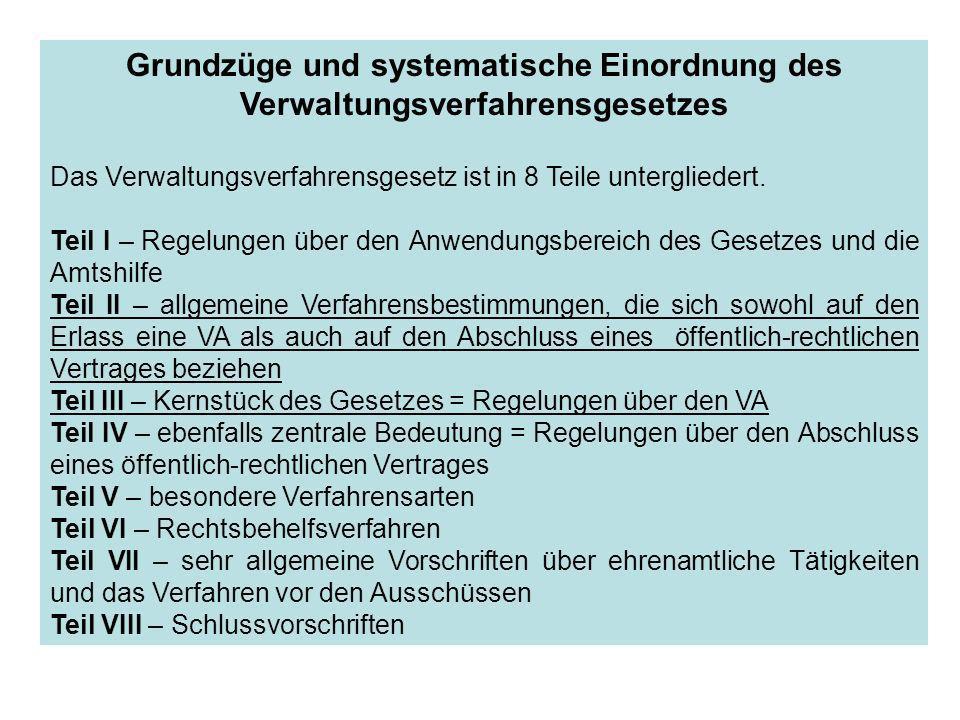 Grundzüge und systematische Einordnung des Verwaltungsverfahrensgesetzes