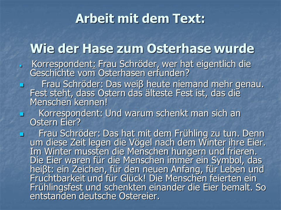 Arbeit mit dem Text: Wie der Hase zum Osterhase wurdе