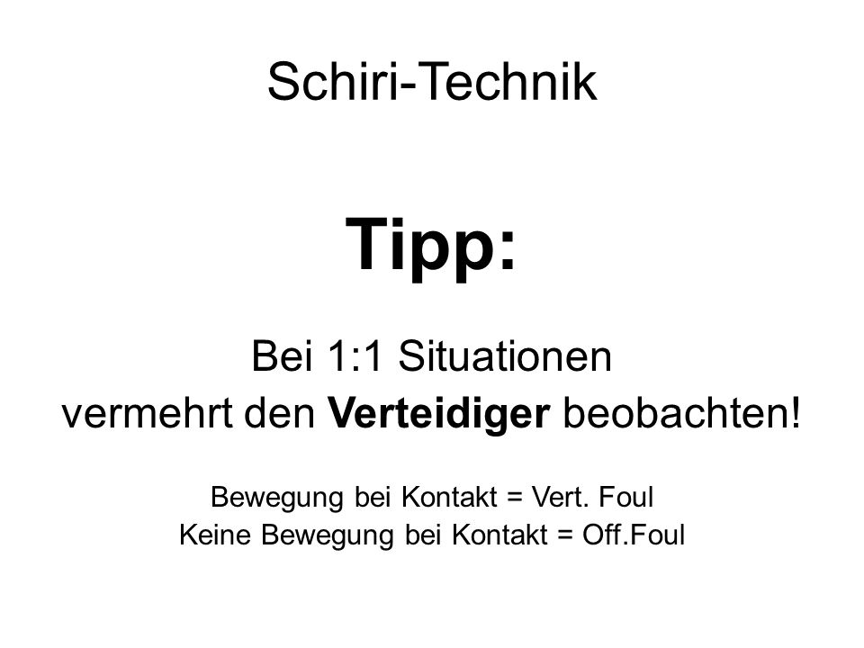 Tipp: Schiri-Technik Bei 1:1 Situationen