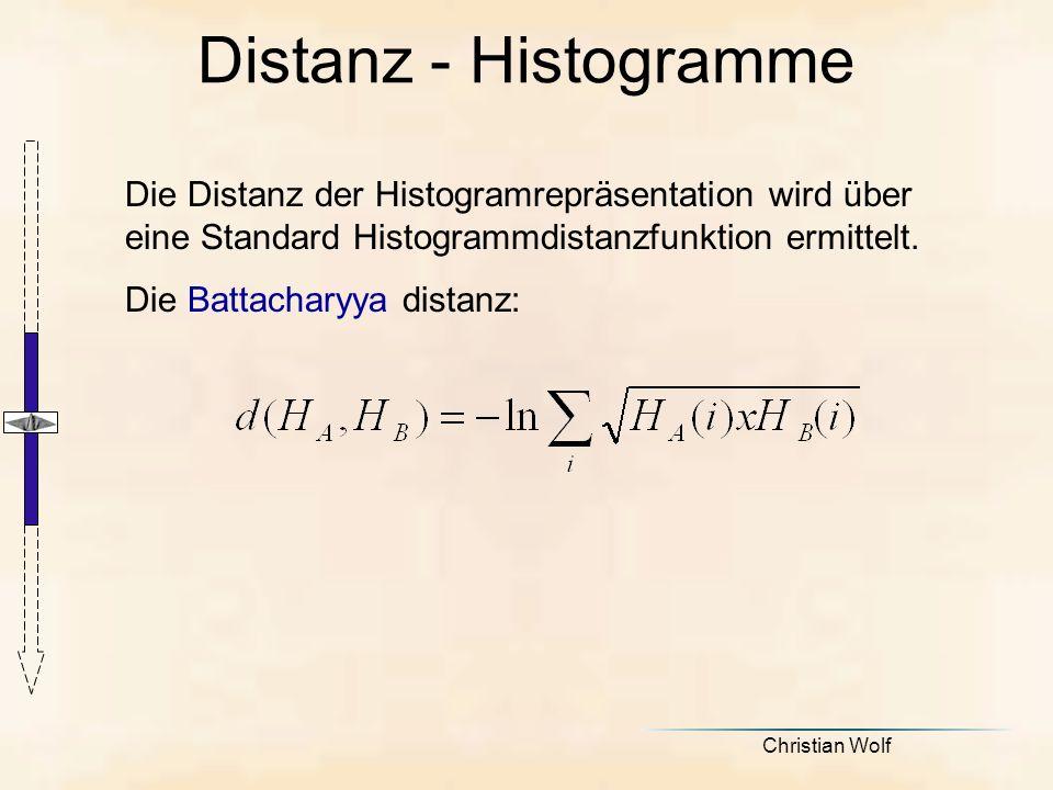 Distanz - Histogramme Die Distanz der Histogramrepräsentation wird über eine Standard Histogrammdistanzfunktion ermittelt.