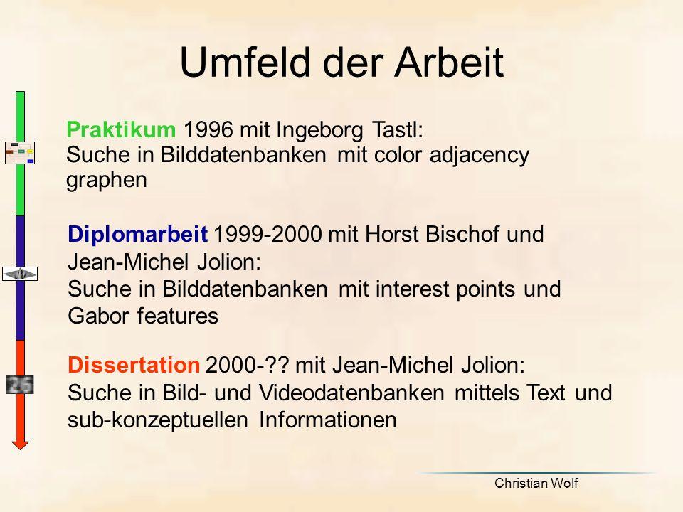 Umfeld der Arbeit Praktikum 1996 mit Ingeborg Tastl: Suche in Bilddatenbanken mit color adjacency graphen.