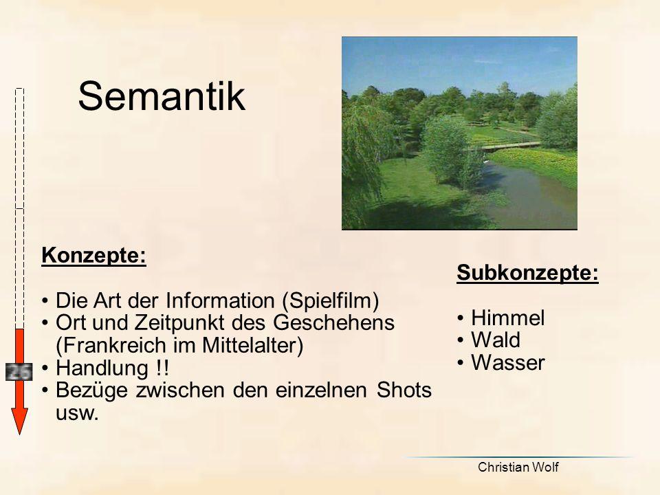 Semantik Konzepte: Subkonzepte: Die Art der Information (Spielfilm)