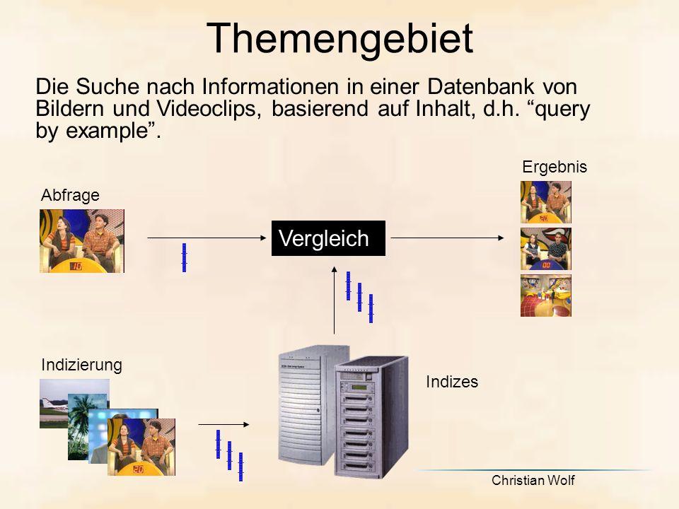 Themengebiet Die Suche nach Informationen in einer Datenbank von Bildern und Videoclips, basierend auf Inhalt, d.h. query by example .
