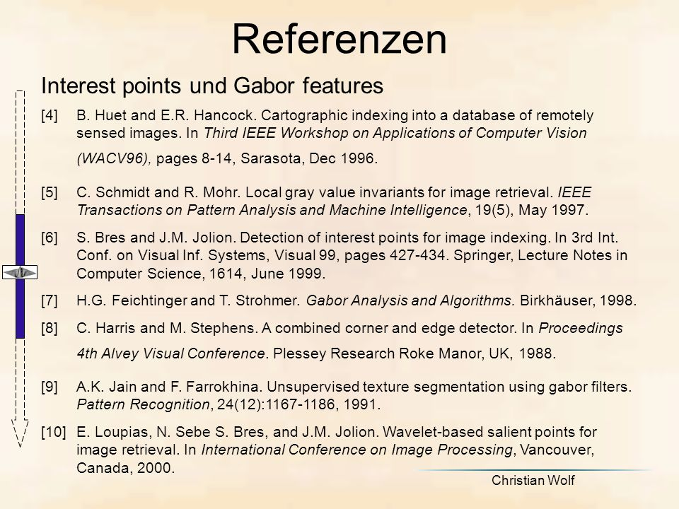 Referenzen Interest points und Gabor features