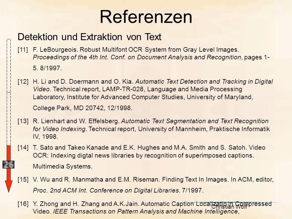 Referenzen Detektion und Extraktion von Text