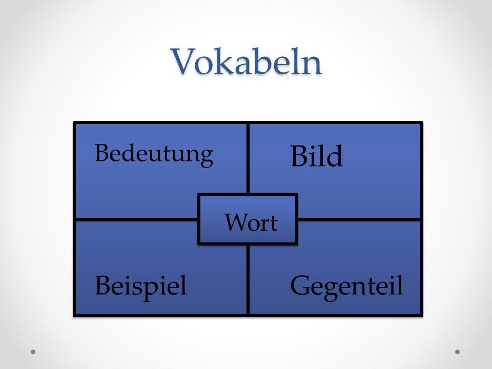 Vokabeln BB Bedeutung Bild Wort Beispiel Gegenteil