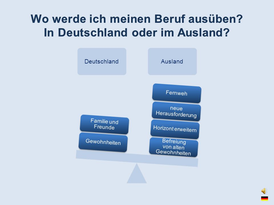 Wo werde ich meinen Beruf ausüben In Deutschland oder im Ausland