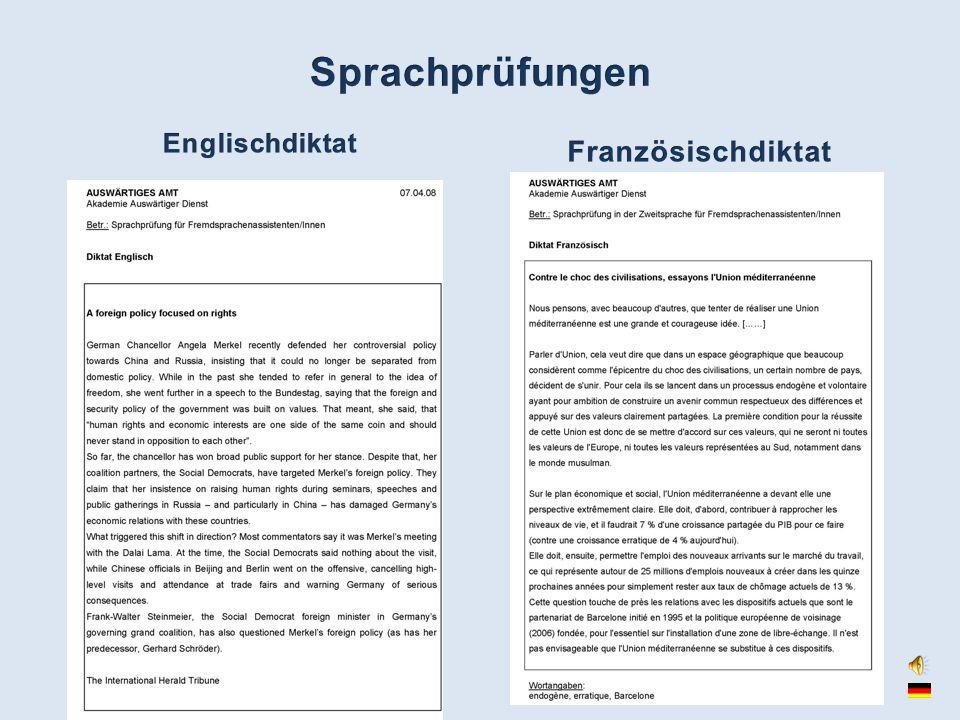 Sprachprüfungen Englischdiktat Französischdiktat