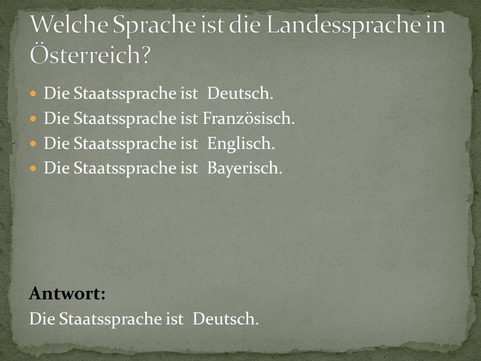 Welche Sprache ist die Landessprache in Österreich