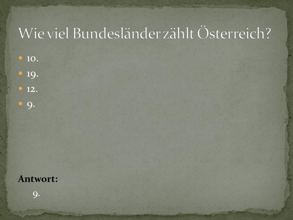 Wie viel Bundesländer zählt Österreich