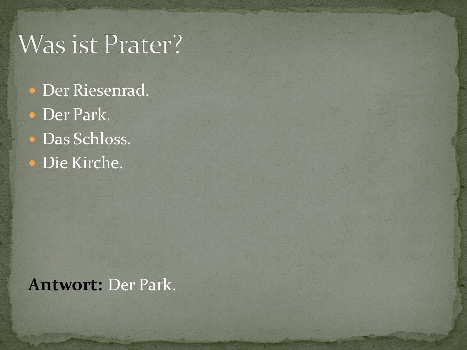 Was ist Prater Antwort: Der Park. Der Riesenrad. Der Park.