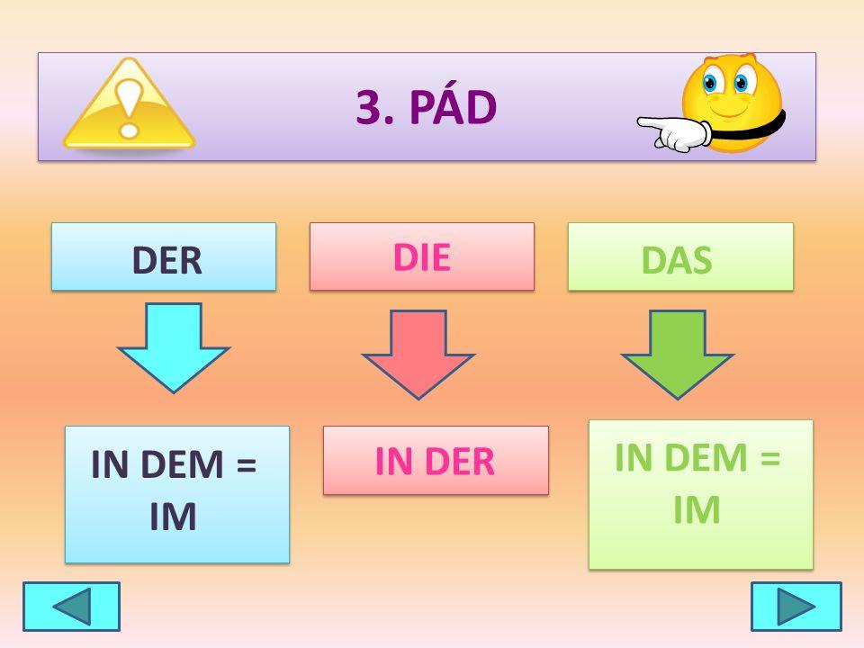 3. PÁD DIE DER DAS IN DER IN DEM = IM IN DEM = IM
