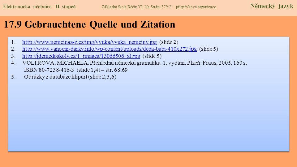 17.9 Gebrauchtene Quelle und Zitation