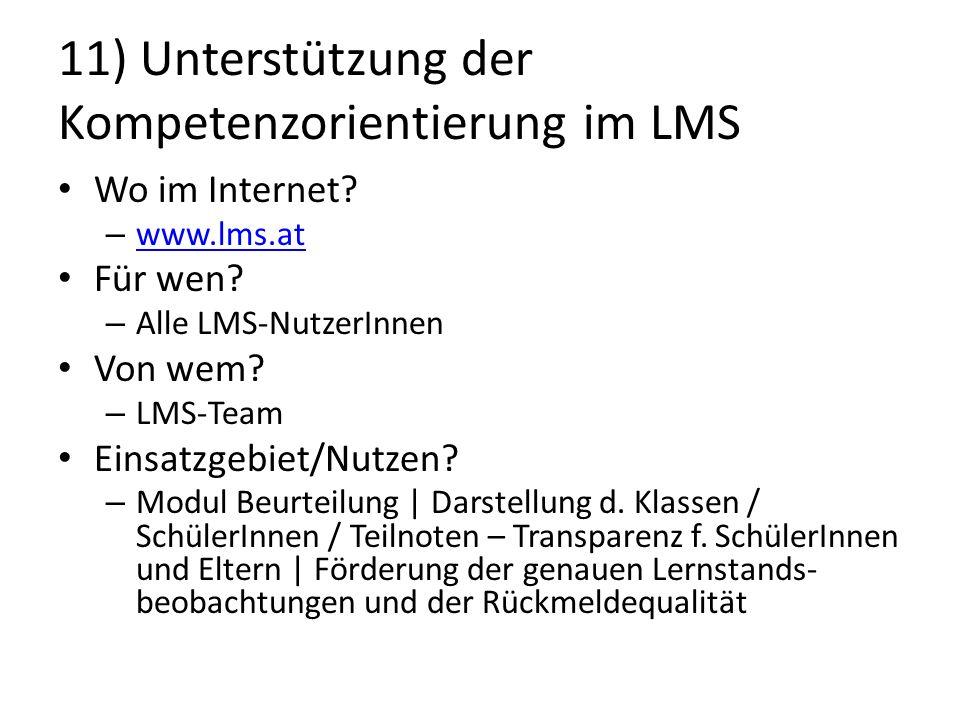 11) Unterstützung der Kompetenzorientierung im LMS