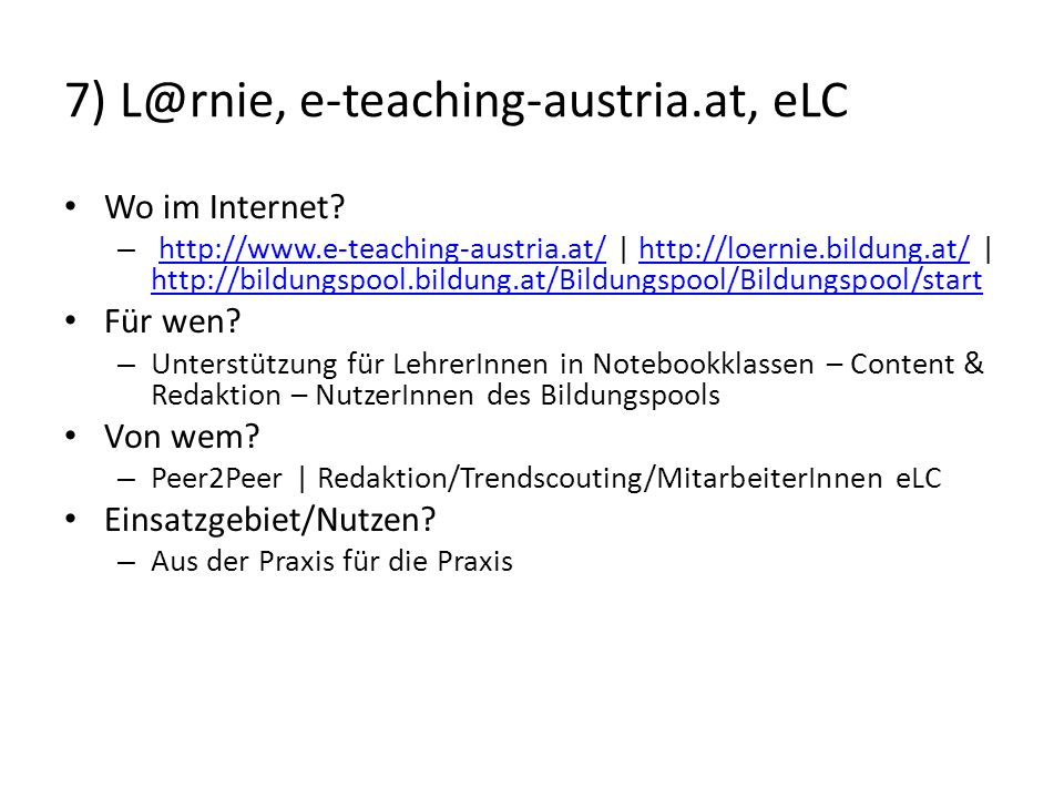 7) L@rnie, e-teaching-austria.at, eLC