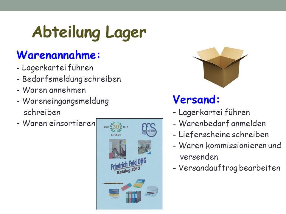 Abteilung Lager Warenannahme: Versand: Lagerkartei führen