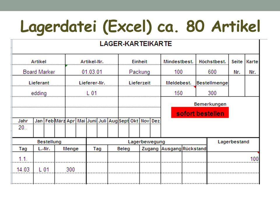 Lagerdatei (Excel) ca. 80 Artikel