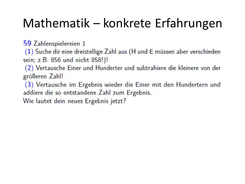 Mathematik – konkrete Erfahrungen