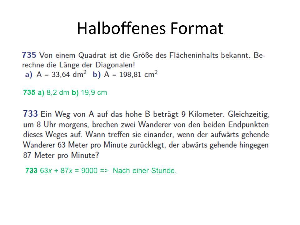 Halboffenes Format 735 a) 8,2 dm b) 19,9 cm
