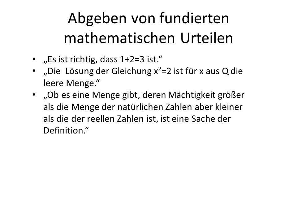 Abgeben von fundierten mathematischen Urteilen