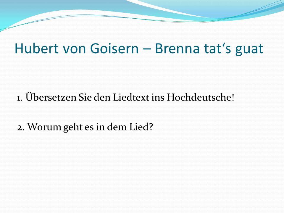 Hubert von Goisern – Brenna tat's guat