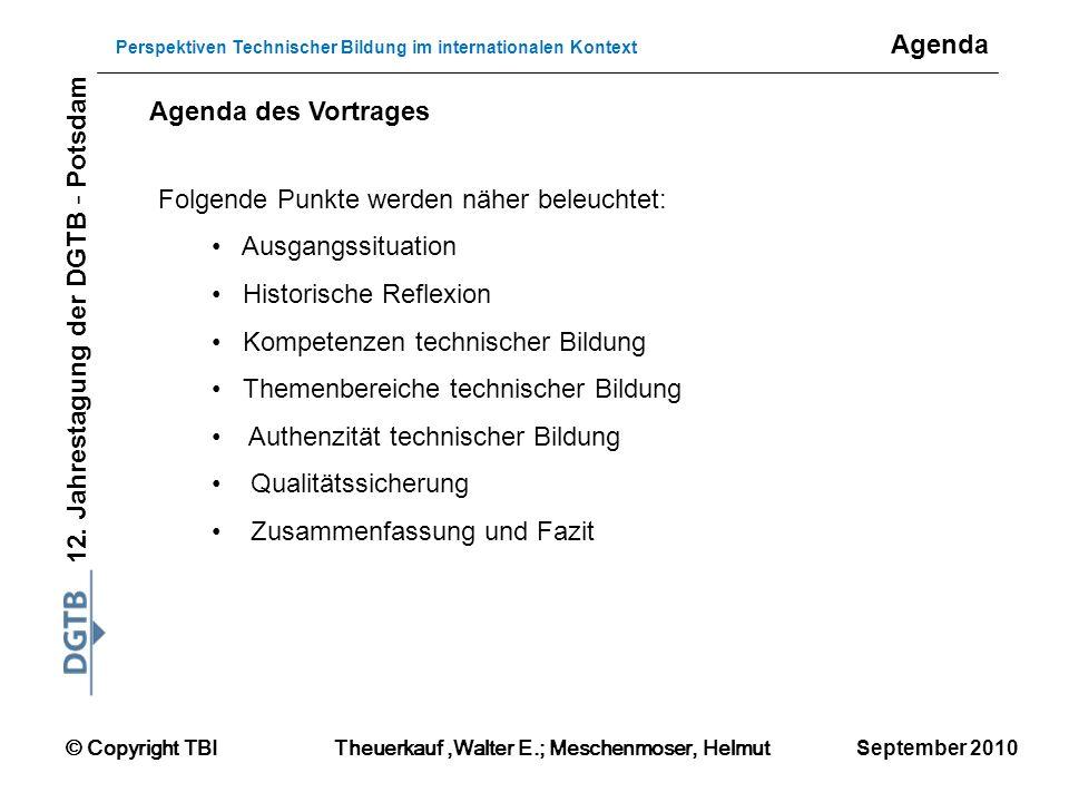 Agenda Agenda des Vortrages. Folgende Punkte werden näher beleuchtet: Ausgangssituation. Historische Reflexion.