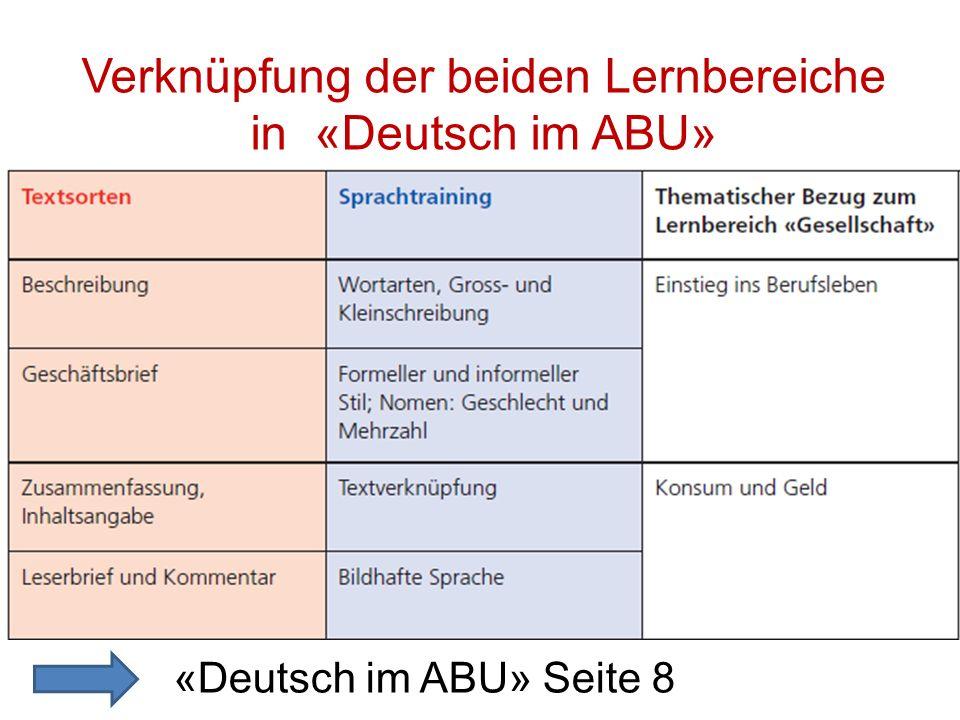 Verknüpfung der beiden Lernbereiche in «Deutsch im ABU»