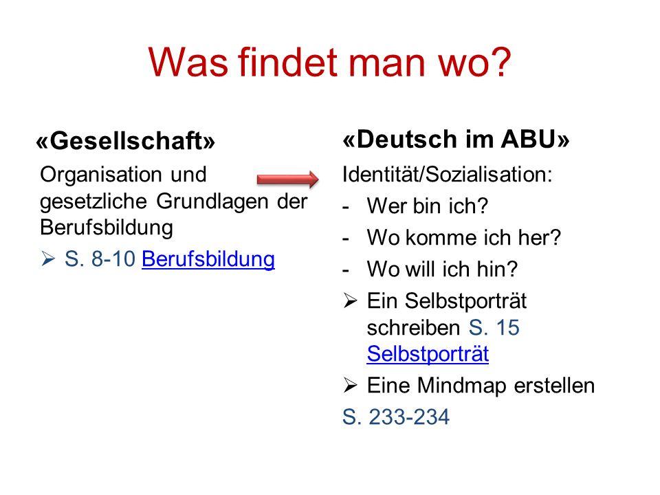 Was findet man wo «Gesellschaft» «Deutsch im ABU»