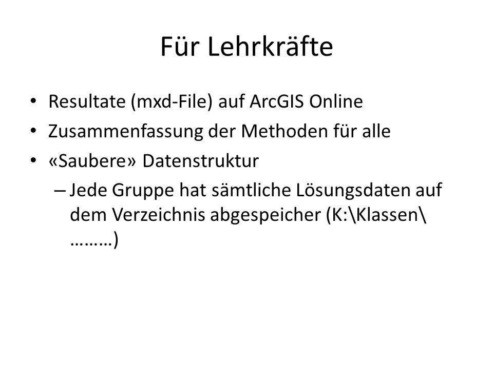 Für Lehrkräfte Resultate (mxd-File) auf ArcGIS Online