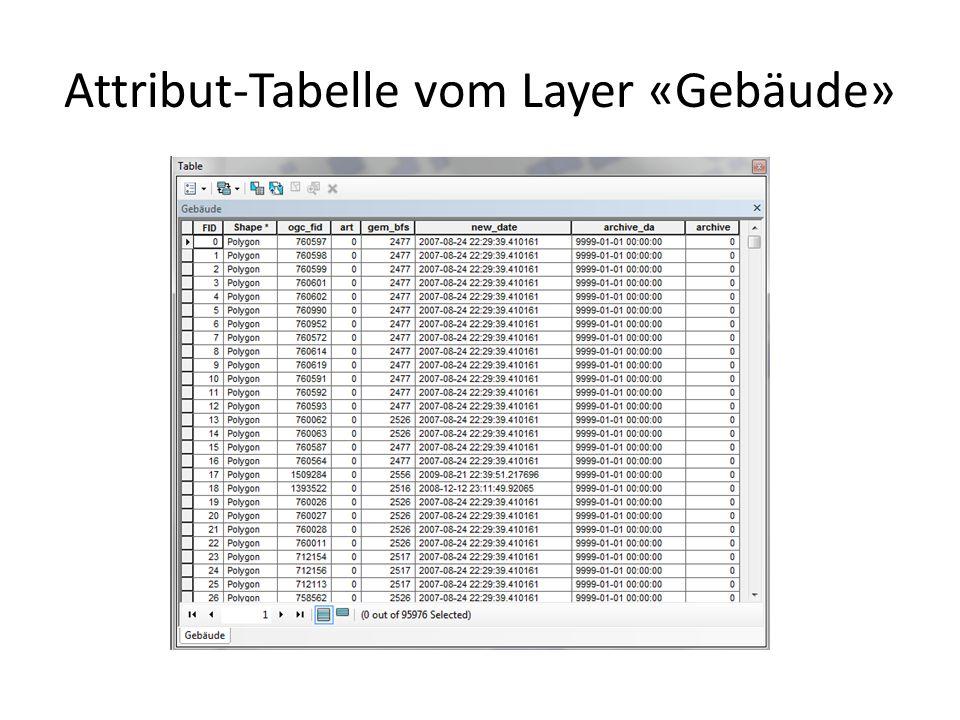 Attribut-Tabelle vom Layer «Gebäude»