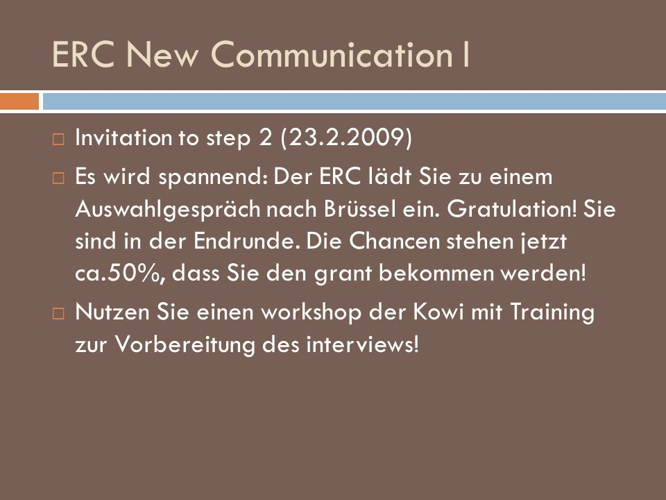 ERC New Communication I
