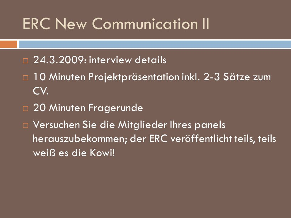 ERC New Communication II