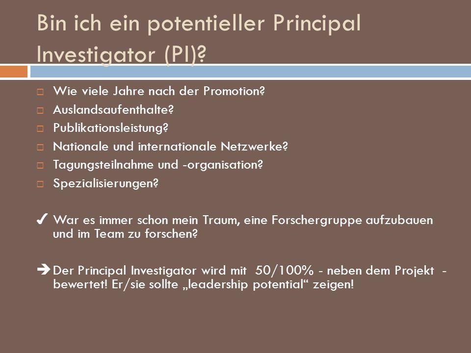 Bin ich ein potentieller Principal Investigator (PI)