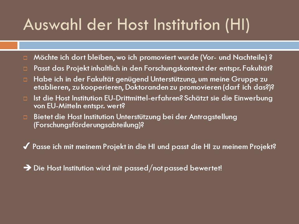 Auswahl der Host Institution (HI)