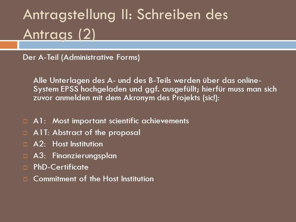 Antragstellung II: Schreiben des Antrags (2)