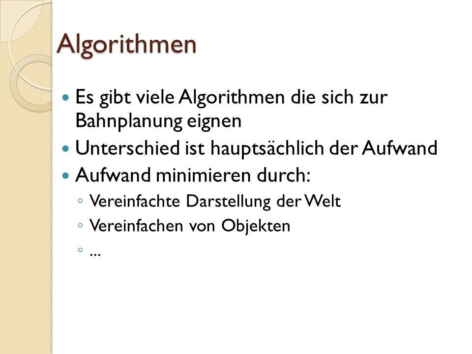 Algorithmen Es gibt viele Algorithmen die sich zur Bahnplanung eignen