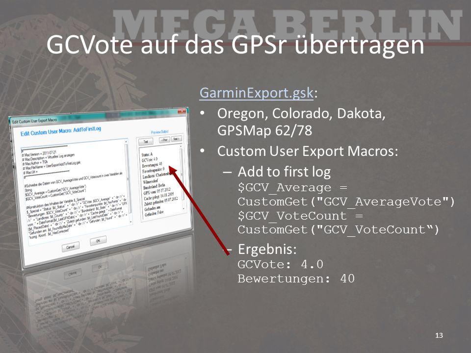 GCVote auf das GPSr übertragen