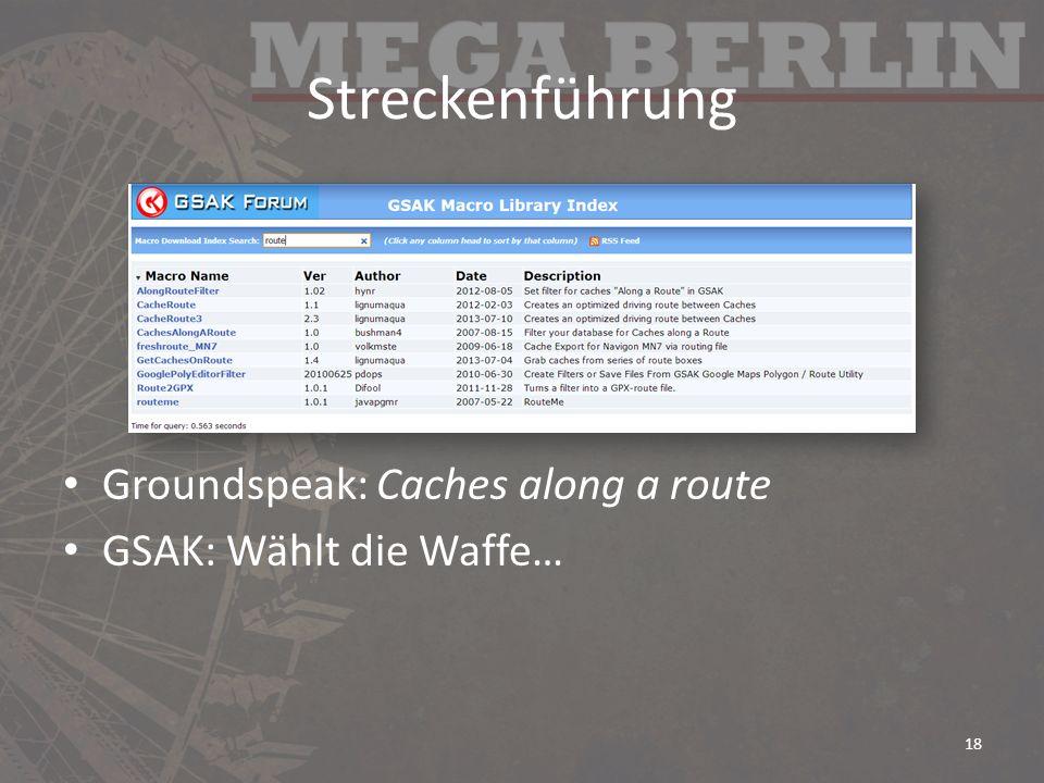 Streckenführung Groundspeak: Caches along a route