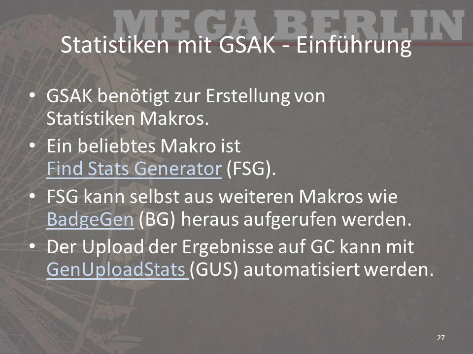 Statistiken mit GSAK - Einführung
