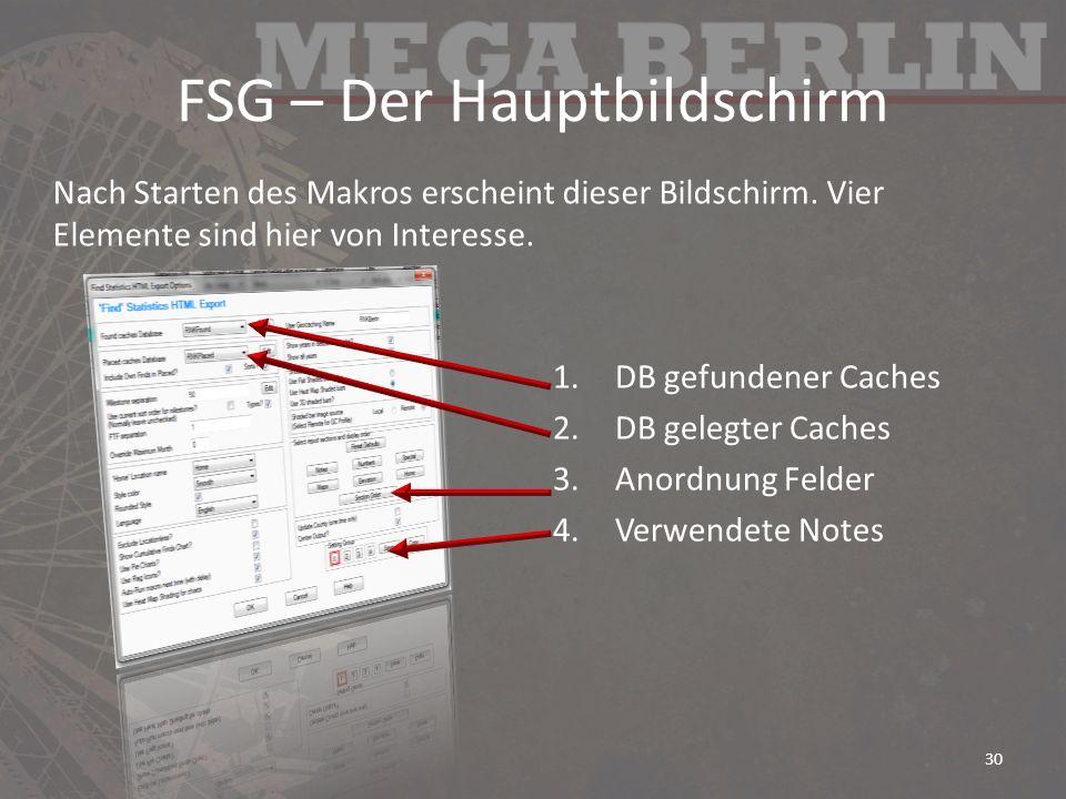 FSG – Der Hauptbildschirm