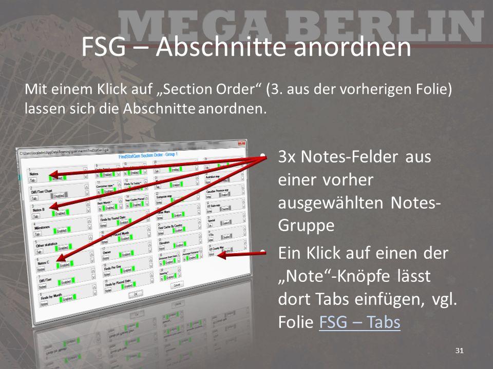 FSG – Abschnitte anordnen