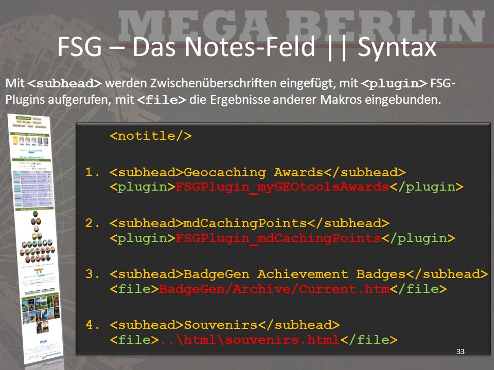 FSG – Das Notes-Feld || Syntax