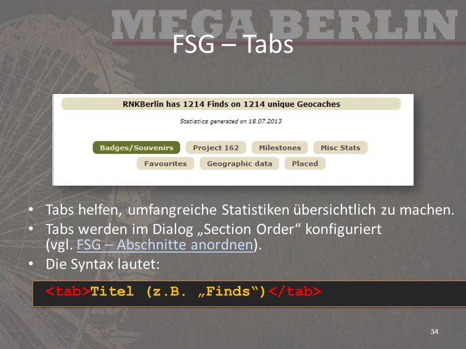 FSG – Tabs Tabs helfen, umfangreiche Statistiken übersichtlich zu machen.