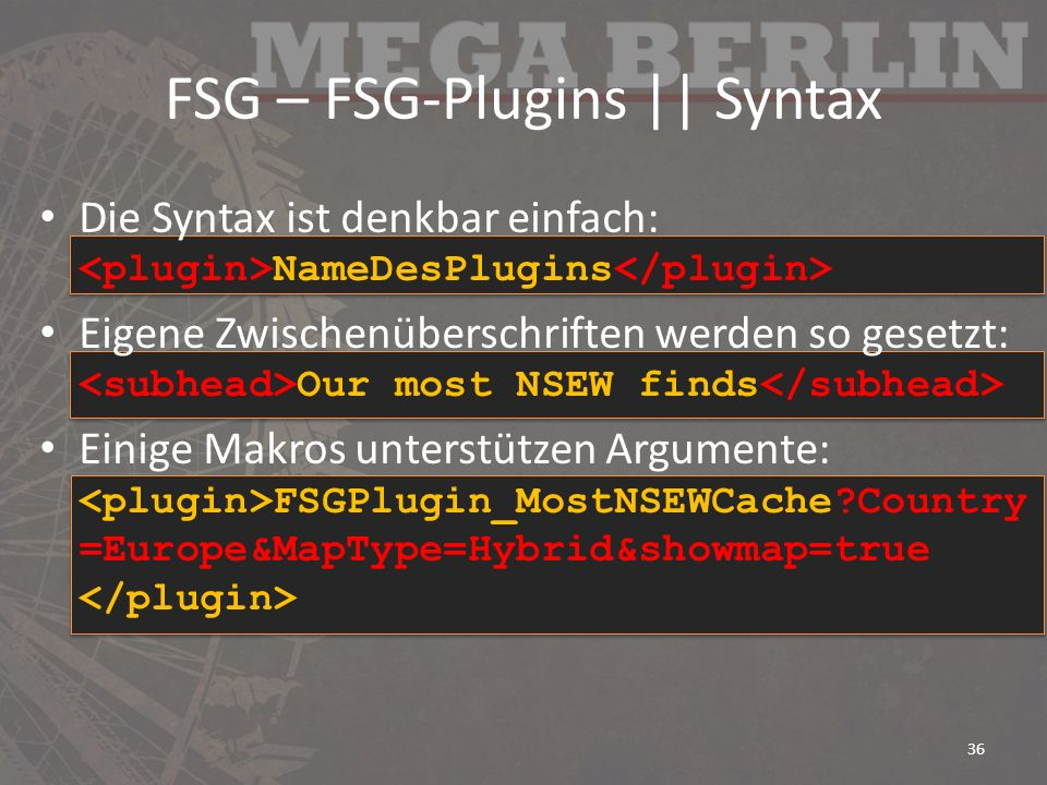 FSG – FSG-Plugins || Syntax