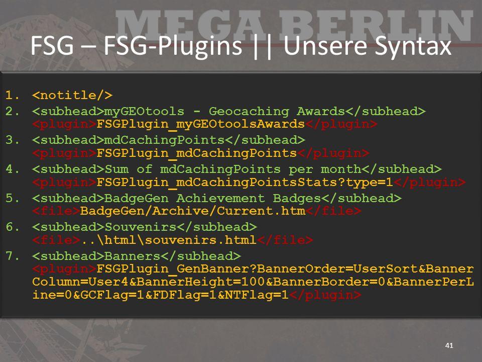 FSG – FSG-Plugins || Unsere Syntax