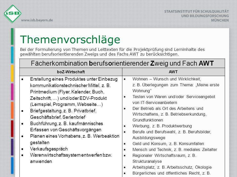 Fächerkombination berufsorientierender Zweig und Fach AWT