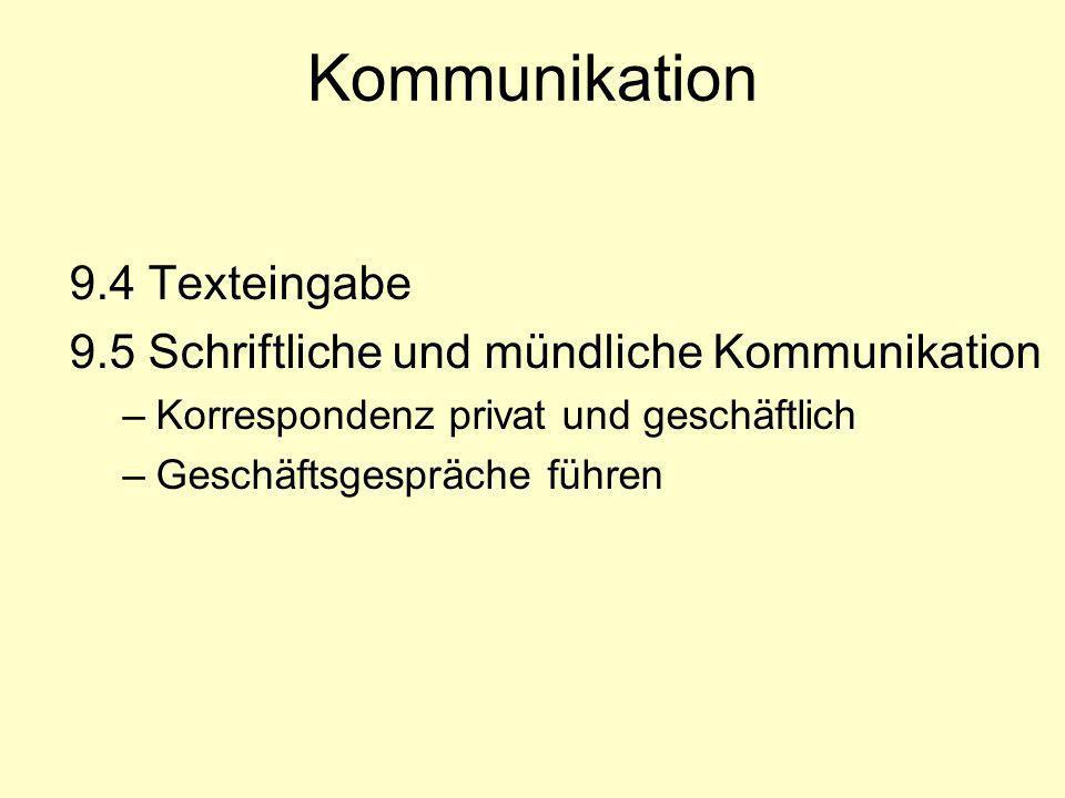 Kommunikation 9.4 Texteingabe