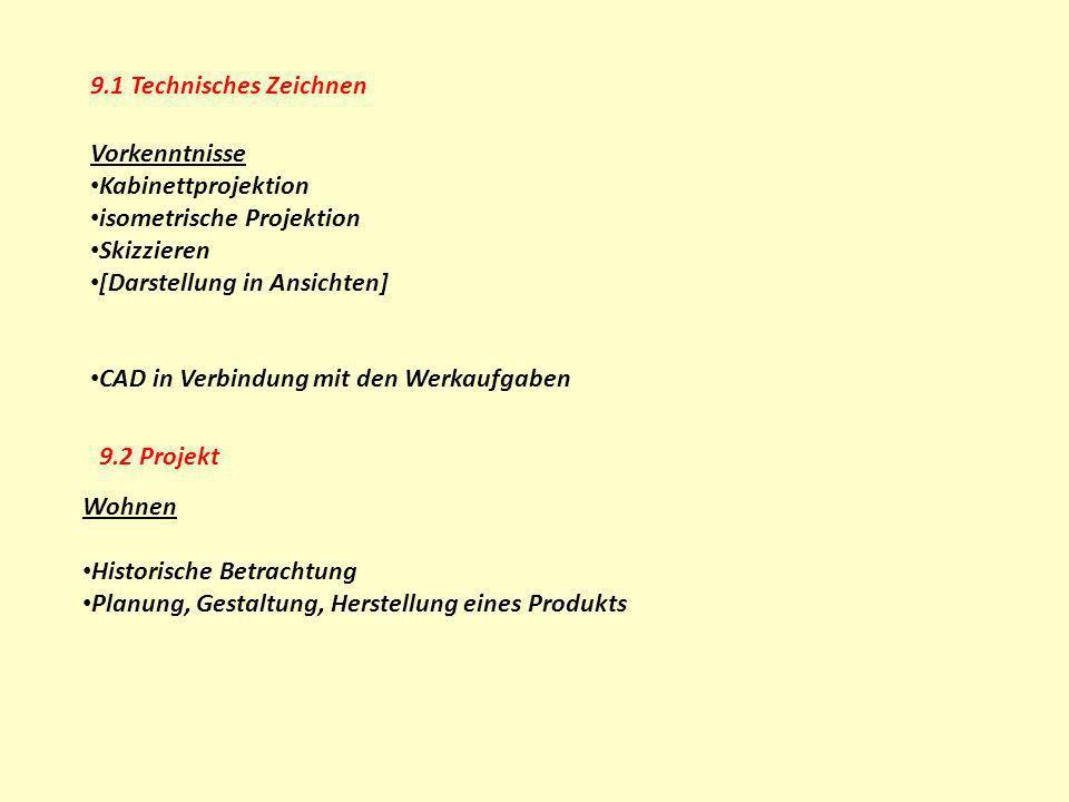 9.1 Technisches Zeichnen Vorkenntnisse. Kabinettprojektion. isometrische Projektion. Skizzieren.